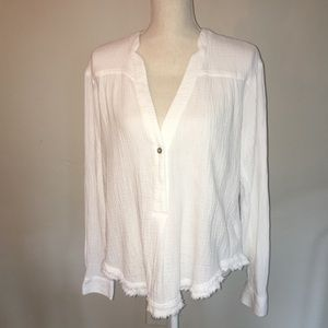 Free People White Cotton Peasant Blouse Size XS